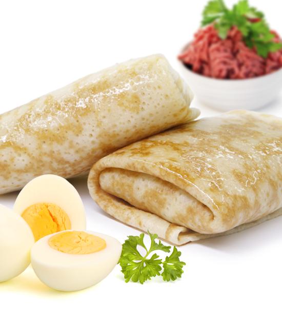 Блинчики с мясом и яйцом
